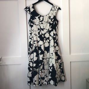 Talbots Cotton Floral Print Cap Sleeve Swing Dress